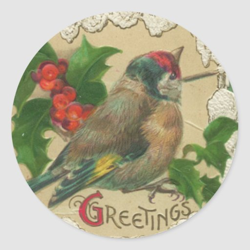 Victorian Bird Christmas Stickers