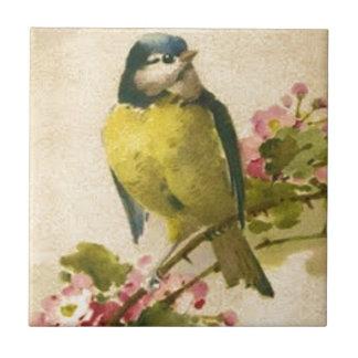 Victorian Bird Illustration Small Square Tile