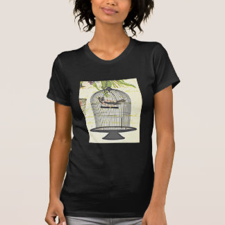 Victorian Bird in Cage Penned Words Design T-shirts
