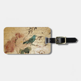 victorian bird Paris French Botanical Rose Luggage Tag