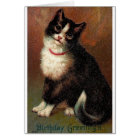Victorian Black And White Cat Birthday Card