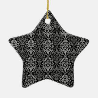 Victorian Black Grey Vintage Damask Lace Pattern Ceramic Star Decoration
