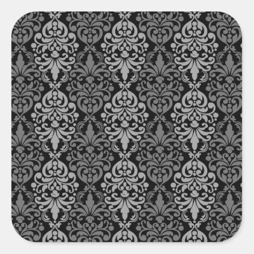 Victorian Black Grey Vintage Damask Lace Pattern Square Sticker
