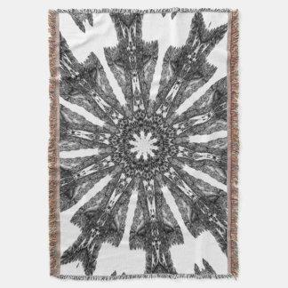 Victorian Black White Parasol Kaleidoscope Afghan