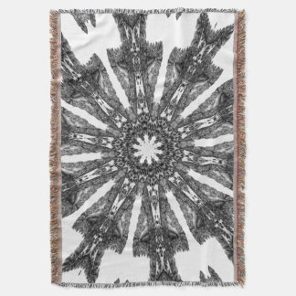 Victorian Black White Parasol Kaleidoscope Afghan Throw Blanket