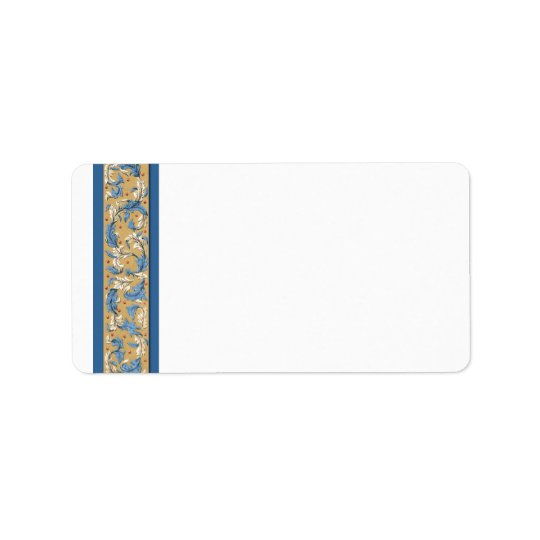 Victorian Blue and Ivory Vintage Art Address Label