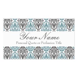Victorian Blue Grey Vintage Damask Lace Pattern Business Cards