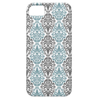 Victorian Blue Grey Vintage Damask Lace Pattern iPhone 5 Case