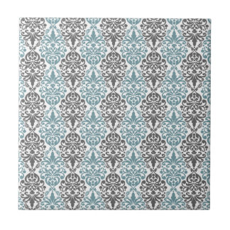 Victorian Blue Grey Vintage Damask Lace Pattern Tile