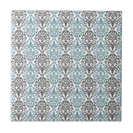 Victorian Blue Grey Vintage Damask Lace Pattern Tile