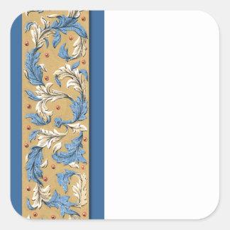Victorian Blue Pattern Sticker Template