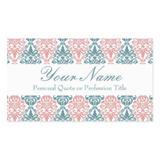 Victorian Blue Pink Vintage Damask Lace Pattern Business Card Templates