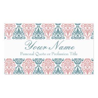 Victorian Blue Pink Vintage Damask Lace Pattern Pack Of Standard Business Cards