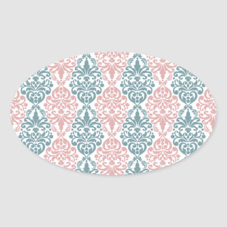 Victorian Blue Pink Vintage Damask Lace Pattern Stickers