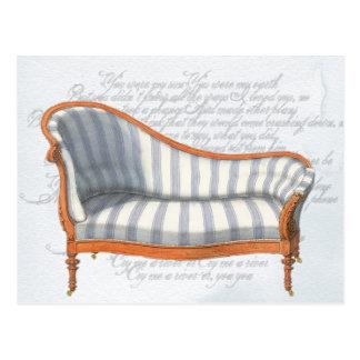 Victorian Blue Stripe Chaise Lounge Postcard