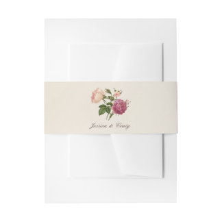 Victorian Botanical Personalised Invitation Bands Invitation Belly Band