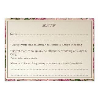 Victorian Botanical Style Wedding RSVP Card
