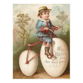 Victorian Boy Bicycle Easter Egg Postcard