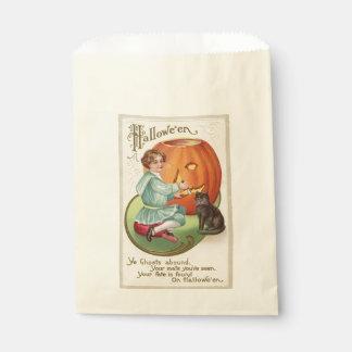 Victorian Boy Carving Pumpkin Halloween Favour Bags