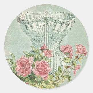 Victorian Bridal Shower Decor Chic Vintage Corset Classic Round Sticker