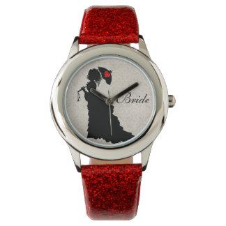 Victorian Bride - Red Glitter Watch