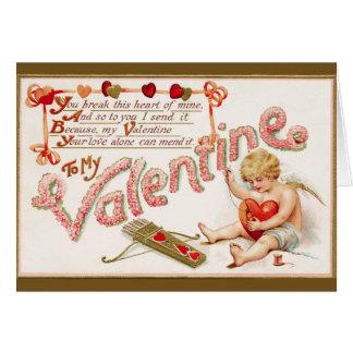 Victorian Broken Heart Valentine Card