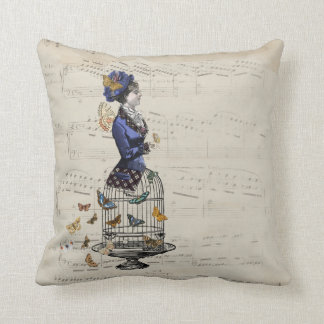 Victorian Butterfly Birdcage Steampunk Woman Tee Cushion
