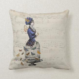 Victorian Butterfly Birdcage Steampunk Woman Tee Throw Pillow