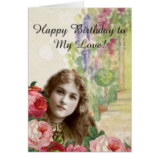 Victorian Cabbage Roses Woman Floral Note Card