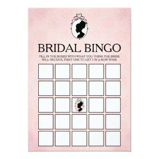 Victorian Cameo Bridal Shower Bingo Game Card