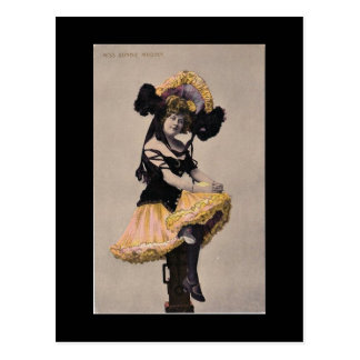 Victorian can can girl postcard