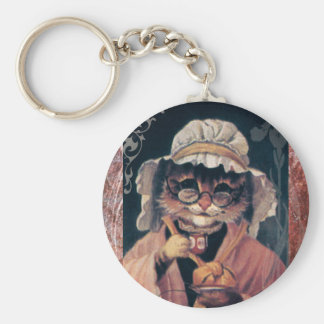 Victorian Cat Lady Tea Cup Basic Round Button Key Ring