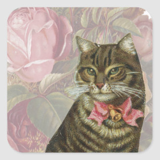 Victorian Cat Pink Roses Square Sticker