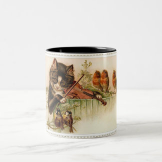 Victorian Cat Plays the Violin for Songbirds Mug