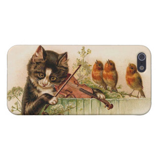 Victorian Cat Plays Violin for Songbirds Case For The iPhone 5