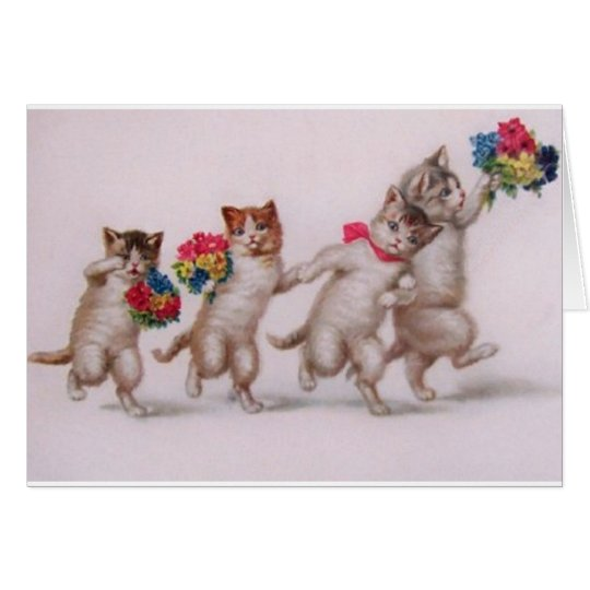Victorian Cats And Kittens Best Wishes Card