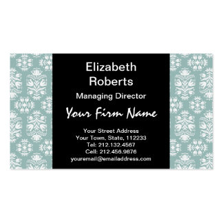 Victorian Celadon Green Damask Business Card Templates