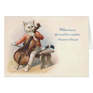 Victorian Cello-Playing Cat Card
