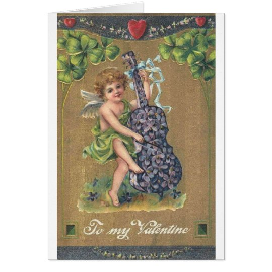 Victorian Cello Playing Cupid Valentine's Day Card