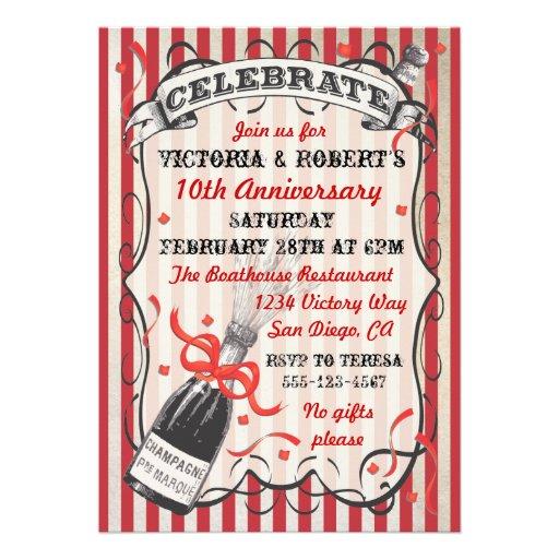 Victorian Champagne Celebration Party Invitation