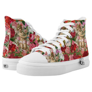 Victorian Cherub and Roses Scrapbook Chintzy High Tops