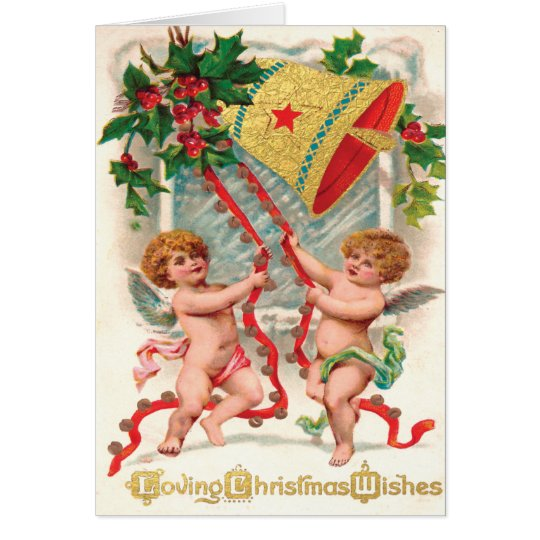 Victorian Cherubic Angels Ringing in Christmas Card