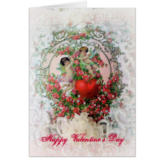 Victorian Cherubs and Lace Valentine Card