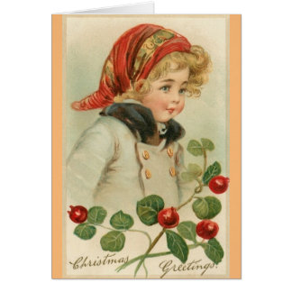 Victorian Child Christmas Greeting Card