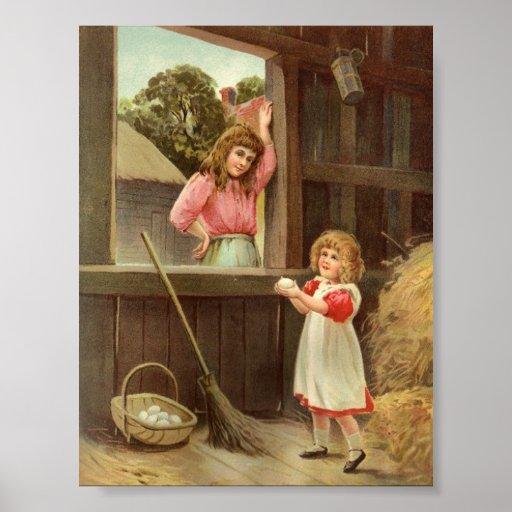 Victorian Child Gathering Eggs Vintage Art Print