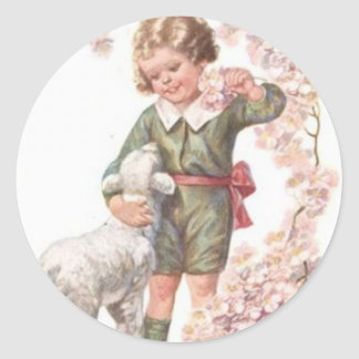 Victorian Child Lamb Cherry Tree Classic Round Sticker