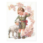 Victorian Child Lamb Cherry Tree Postcard