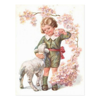 Victorian Child Lamb Cherry Tree Postcard