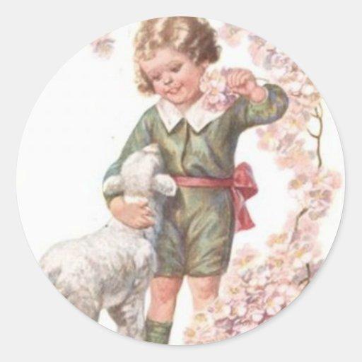 Victorian Child Lamb Cherry Tree Sticker
