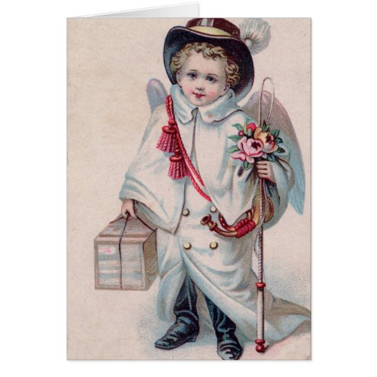 Victorian Child Sweet Angel Boy Christmas Card